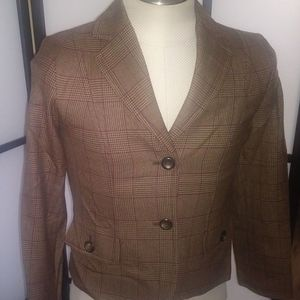 Pendleton Brown Houndstooth Plaid Jacket Size 4